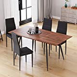 Extendable Dining Table Set, Rectangular Kitchen Table with Metal Legs, Extends from 120-160cm, Walnut (Table+6 Chairs)
