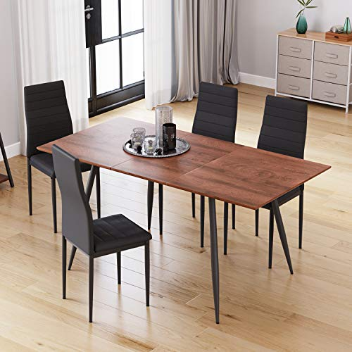 Extendable Dining Table Set, Rectangular Kitchen Table with Metal Legs, Extends from 120-160cm, Walnut (Table+4 Chairs)