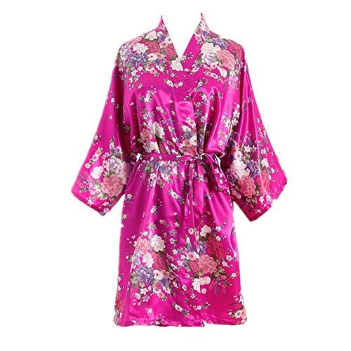 JZLPIN Damen Brautjungfer Roben Kurz Kirschblüten Kimono Robe Morgenmantel Rose Rot OneSize