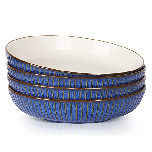 JDZTC Porcelain pasta bowl Salad plate 8 inch -Set of 4 White or blue