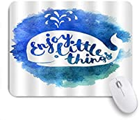 TARTINY ゲーミング マウスパッド,海洋のテーマ白と青のクジラの動機付けのレタリングは小さなことを楽しむ,マウスパッド レーザー&光学マウス対応 マウスパッド おしゃれ ゲームおよびオフィス用 滑り止め 防水 PC ラップトップ