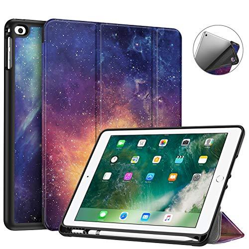 FINTIE Custodia per iPad 9.7 Pollici 2018 2017 con Built-in Pencil Holder - Sottile Leggero Cover con Auto Sonno Sveglia la Funzione per iPad 9,7 Pollici 2018 2017, Galaxy