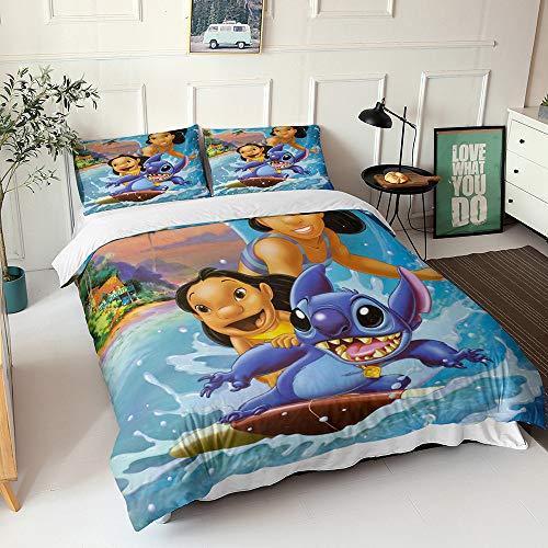 Moana - Juego de ropa de cama de tres piezas con cremallera, 2 fundas de almohada para niños, regalos (05, 200 x 200 cm (80 x 80 cm)