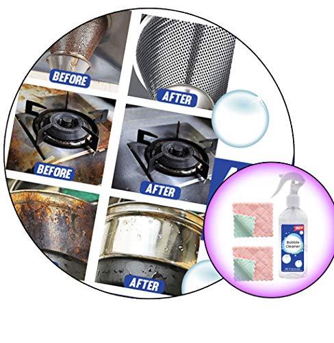 3 Stück Reinigungstuch + Reinigungsspray Kitchen Bubble Cleaner, Schaumspray Formentferner Multifunktions-Hochleistungsreiniger Allzweckreiniger Fettreiniger Mehrzweck-Schaumreiniger (3 Stück)