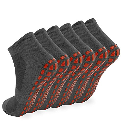 NOVAYARD 6 Paar Yoga Socken Griff Stoppersocken Pilates Fitness Kampfsport Anti Rutsch Socken für Herren Damen (Dunkelgrau,L)