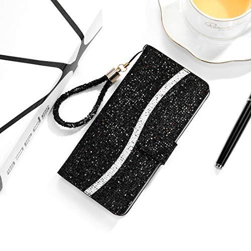 PHONETABLETCASE+ / for SAMSUNG Galaxy A01 Glitter Powder Horizontal Flip Funda de cuero con ranuras y soporte tarjeta y cordón Protección de la cubierta de la cubierta a prueba ( Color : Negro )