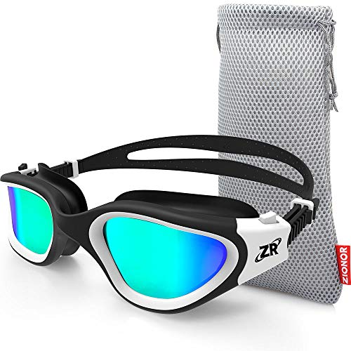 ZIONOR Swimming Goggles, G1 Polarized Swim Goggles UV Protection Watertight Anti-Fog Adjustable Strap Comfort fit for Unisex Adult Men and Women (Polarized Gold Lens White Frame)