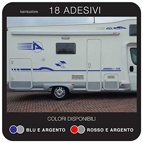 kamiustore Adesivo Arca America per Camper in Vinile - Kit 18 Adesivi componibili con Personalizzazione (Rosso/Argento)