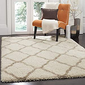 Safavieh Hudson Shag Collection SGH283D Moroccan Trellis 2-inch Thick Area Rug, 8′ x 10′, Ivory / Beige