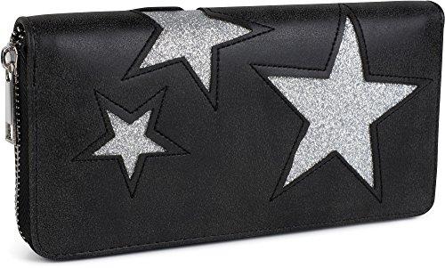 styleBREAKER Geldbörse mit glitzerndem Stern Cutout Muster und Ziernaht, Reißverschluss, Portemonnaie, Damen 02040058, Farbe:Schwarz / Stern Silber
