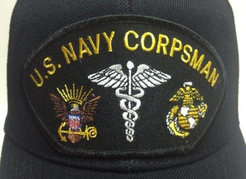 Corpsman Hat US Navy Marine Corps FMF Black w/Free Sticker