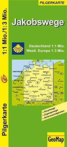 Jakobswege Deutschland und westliches Europa: 1:1.000.000/3.000.000 (Geo Map)