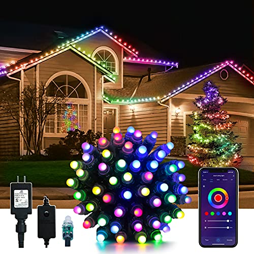 Smart Outdoor String Lights Peteme, 50LED 42ft Waterproof Color Changing WiFi String Lights Sync to Music Christmas Tree Lights App Controlled Compatible with Alexa/Google/Siri