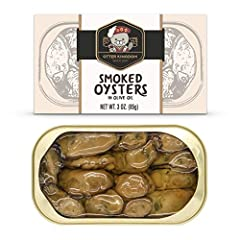 High quality smoked oyster with premium olive oil from South Korea. Naturally wood smoked, hand packed in premium pure olive oil. Case of twelve, 3-ounce cans with easy open lids. BPA free package, Non-GMO, Gluten free Highly managed fisheries, FDA/B...