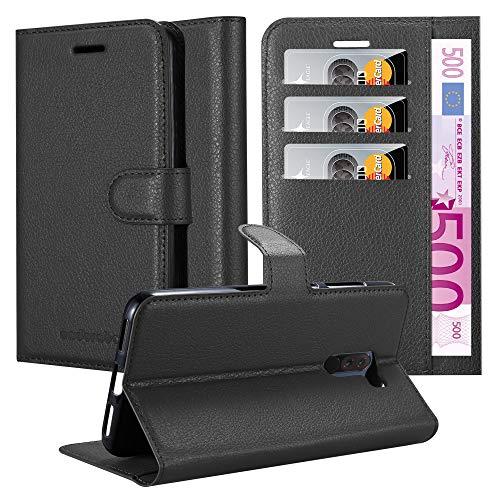 Cadorabo Hülle für Xiaomi Pocophone F1 in Phantom SCHWARZ - Handyhülle mit Magnetverschluss, Standfunktion & Kartenfach - Hülle Cover Schutzhülle Etui Tasche Book Klapp Style