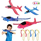 MIMIDOU 4 Pcs Catapult Slingshot Plane 2 Flight Mode Glider Airplane 2 Ways to Play Outdoor Flying Toy for Kids as Gift.