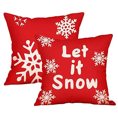 Lifreer - 2 federe per cuscino natalizie, in cotone e lino, motivo fiocco di neve, per Natale, divano, letto, decorazione per la casa, 45 x 45 cm