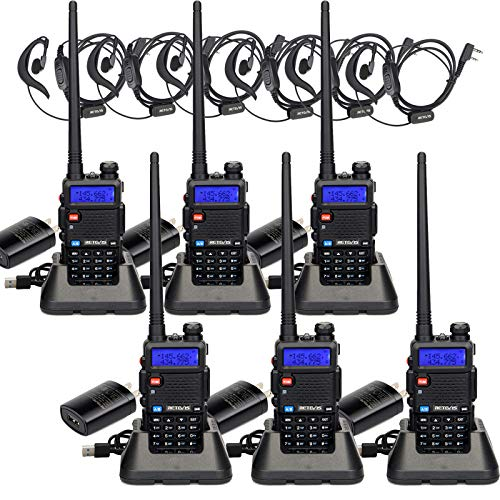 Retevis RT-5R Dual Band Two-Way Radio 128CH 2 Way Radio Rechargeable Long Range Walkie Talkies for Adults (6 Pack)