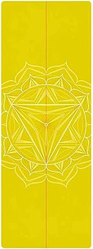 Yoy-mat Tapis de Yoga Professionnel en Caoutchouc Naturel Rembourrage antidérapant rembourré Portable Serviette de Yoga Fine Couverture (Jaune) 1.5mm