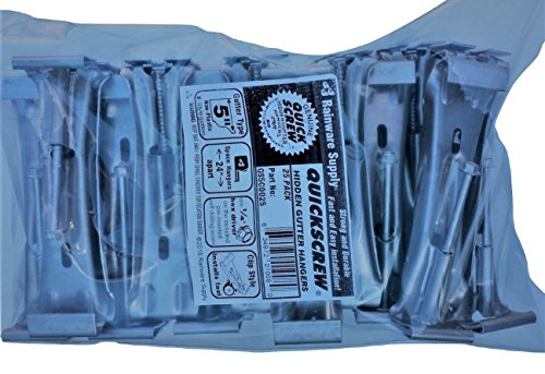 "25 Pack Quick Screw 5"" inch Aluminum Hidden Rain Gutter Bracket Hook Clip Style Hangers with pre Inserted 3"" Long ¼"" hex Head self Drilling Screw"