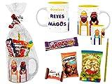 CAPRILO. Lote de 4 Tazas de Cerámica con Golosinas y Chocolates Reyes Magos. Vajillas. Regalos y Juguetes para Fiestas de Cumpleaños, Bodas, Navidad y Reyes, Bautizos y Comuniones. DC