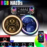 "SUPAREE 7"" round LED Headlights RGB Halo Angel Eyes with Amber Turn Signal Light 7 inch Bluetooth Remote Control for 1997-2017 Jeep Wrangler JK LJ TJ CJ Sahara Sport Rubicon Hummer H1 H2"