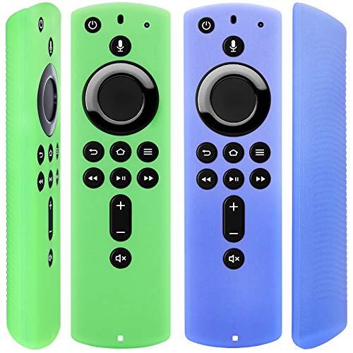 [2 Pack] Halbtransparente Fernbedienung Hülle für Fire TV Stick 4K/Fire TV Cube / Fire TV (3. Gen), kompatibel mit allen Alexa Voice Fernbedienungen (durchscheinend blau-grün)