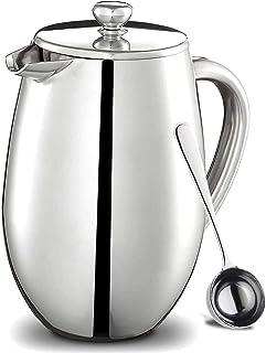 フレンチプレス エアロプレ スポータブルコーヒー プレス フレンチプレスコーヒーメーカー ステンレス 二重構造 銀 (銀-350-FR) …