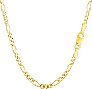 """14K Yellow Or White Gold 3.1mm Alternate Classic Figaro Chain Necklace Or Bracelet/Foot Anklet for Pendants and Charms with Lobster-Claw Clasp (7"""", 8"""", 16"""", 18"""", 20"""", 22"""", 24"""" or 30 inch)"""