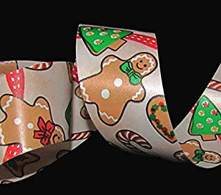 5 Yards Gingerbread Man Cookie Christmas Winter Red Acetate Waterproof Ribbon Lace Trim Embroidery Applique Fabric Delicate DIY Art Craft Supply for Scrapbooking Gift Wrapping