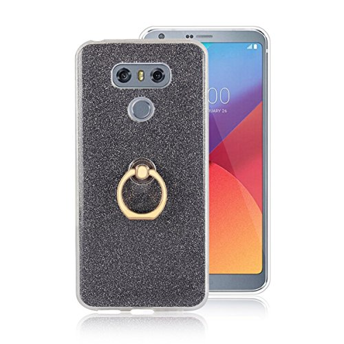Funluna LG G6 Funda Dedo Anillo Brillantes Diamante Carcasa Glitter Bling Funda de Gel de Silicona Soft TPU con 360 °Grados Soporte Rotating Anti-Gota Anillo Soporte Mano Agarre Funda para LG G6