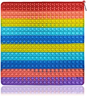 Big Size Push Pop it Fidget Toy, Rainbow Square 400 Bubbles 15.7Inch 400mm Popular Stress Relieving Fidget Game Pack for K...