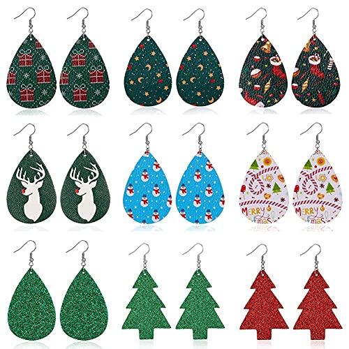 KINGVON - Juego de pendientes de cuero navideño de 9 piezas, Boho, ligero, en forma de lágrima, copo de nieve, alce, pendientes colgantes de cuero para mujeres y niñas
