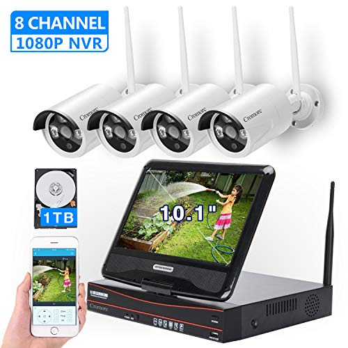 [8CH,Expandable] All in one with 10.1' Monitor Wireless Security Camera System, Cromorc Home Business CCTV Surveillance 8CH 1080P NVR Kit, 4pcs 2MP 1080P Outdoor Night Vision IP Camera, 1TB Hard Drive