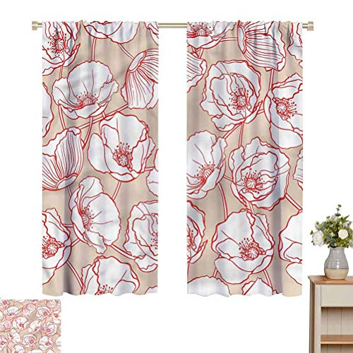 June Gissing Cream Insulated Blackout Curtain Poppies Garden Art Spring Fade Resistant Polyester Microfiber W52 x L63 for Best Friends