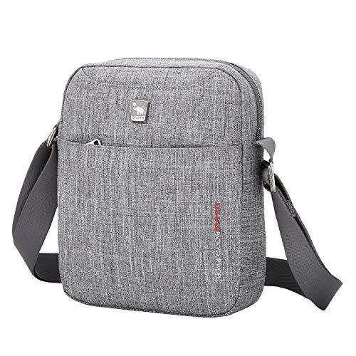 OIWAS Herrentasche Klein Grau Umhängetaschen Herren Crossbody Bag Tasche Umhängen Männer Mini Schultertasche für Freizeit Urlaub Ausflug Spaziergang und Wandern