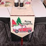 Doubleer Runner da tavola di Natale, Buon Natale Albero di Natale Decorazione per Auto Tovaglietta di Stoffa Rossa, usata per la Cena di Natale Tovaglia per la casa Cena per Regali