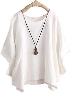 (グードコ) レディース 綿麻 ドルマンスリーブ 半袖 Tシャツ ゆったり トップス シャツ カットソー プルオーバー 着痩せ カジュアル 7色