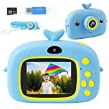 Kids Camera, Dual Selfie Digital Video Camcorder Camera 2 Inch IPS Screen 5 Puzzle Games 1080P Rechargeable Action Camera 32G SD Card Birthday Christmas Holiday for 3-12 Year Old Girls Boys (Blue)