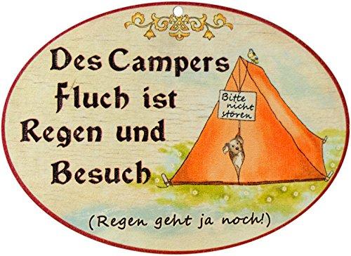 Kaltner Präsente–Regalo Idea––Rótulo Alemán (de Pared (Madera), diseño Envejecido Humor del Campers–Maldición es Lluvia y Escolares (18cm de diámetro)