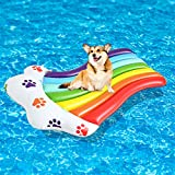 SCENEREAL Inflatable Dog Floats for Pool - Durable Swimming Dog Floating Raft with Rainbow Footprint Pattern PVC Material