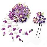 [キョウエツ] 髪飾り 花 つまみ細工 かんざし 2点セット 7w8200 レディース (紫)