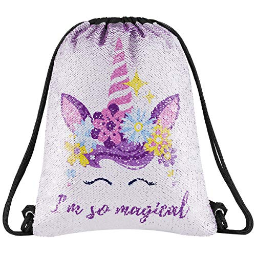 Segorts Sequin Mermaid Drawstring Bag Reversible Sequin Dance Bag for Girls Kids­ (Magical Purple)