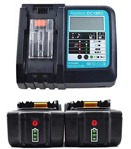 Ersatz Ladegerät mit 2X Akku 18V 4.0Ah für Makita Baustellenradio BMR100 BMR102 DMR100 DMR110 DMR101 DMR103B BMR104 BMR103 DMR104 DMR105 DMR106 DMR102 DMR109 DMR108 DMR107 18 Volt Radio