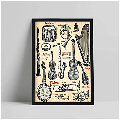 BINGJIACAI Revista de estilo vintage Catálogo Póster Instrumentos Clarinete Violín Cuerno Arpa Recoger Lienzo Pintura Arte de la pared Impresión de imagen Decoración para el hogar-40x60cm Sin marco