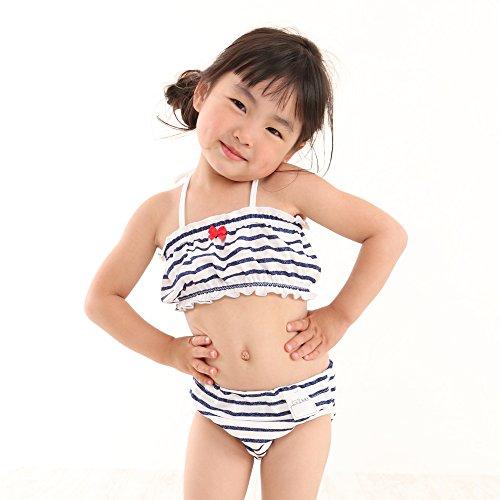 日本製ビキニセット女の子スイミングパンツ(80cm,マリンボーダービキニ)