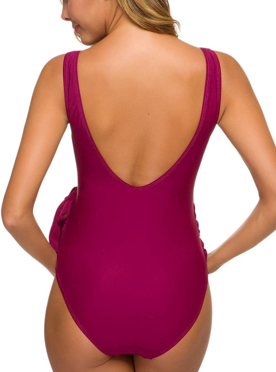 Maternity Swimsuit One Piece Tie Front Bathing Suit V Neck Pregnancy Swimwear High Cut Orange