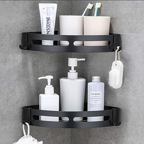 Laimew Ampliare mensole angolari doccia Caddy angolo con ganci No Foratura Alunimun Bagno Mensola Cucina Organizzatore di stoccaggio (Nero)