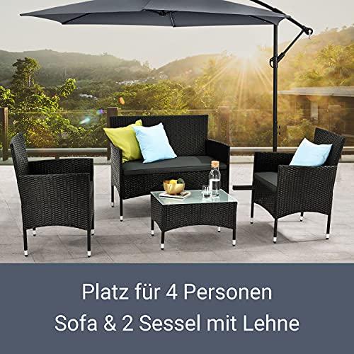 ArtLife Polyrattan Gartenmöbel-Set Fort Myers schwarz – Sitzgruppe mit Tisch, Sofa & 2 Stühlen – Balkonmöbel für 4 Personen mit grauen Auflagen - 5