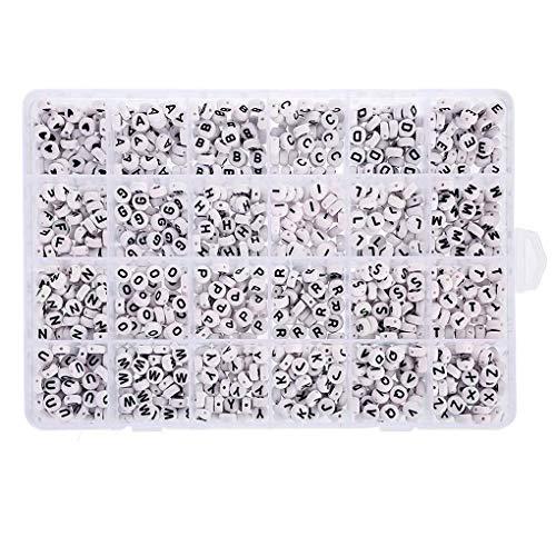 Masterein 1200 PC/Satz-Armband-Fußkettchen DIY Perlen englische Buchstaben Schmuck Perlen-Kit, Buchstaben Perlen DIY-Kit mit Aufbewahrungsbox